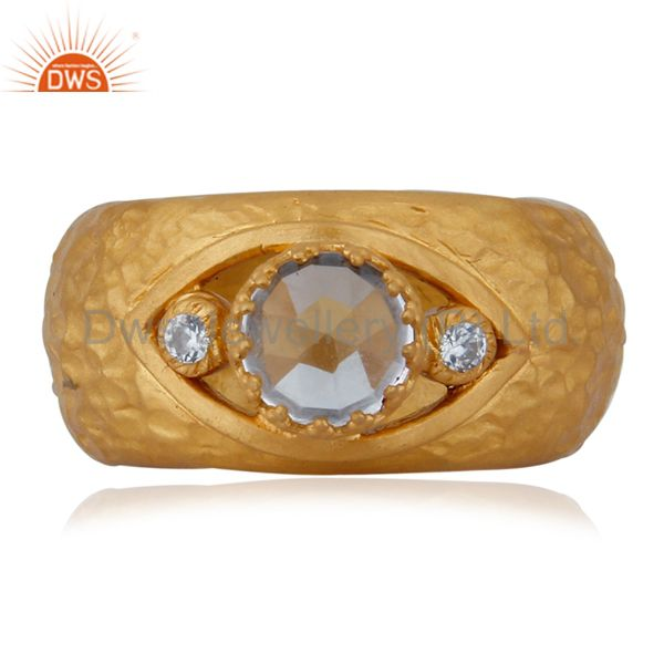 Textured 18K Yellow Gold Plated Sterling Silver Crystal Quartz Crown Bezel Ring