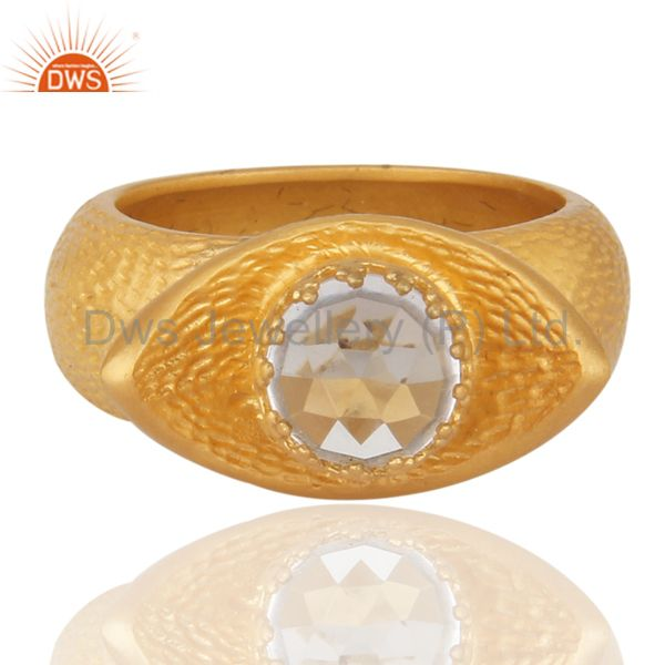 Natural Clear Quartz Crystal 18k Gold Over 925 Sterling Silver Brush Finish Ring