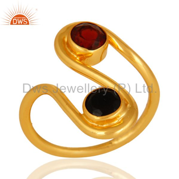 Handmade Black Onyx And Garnet Gemstone Ring With 14K Yellow Gold Plated