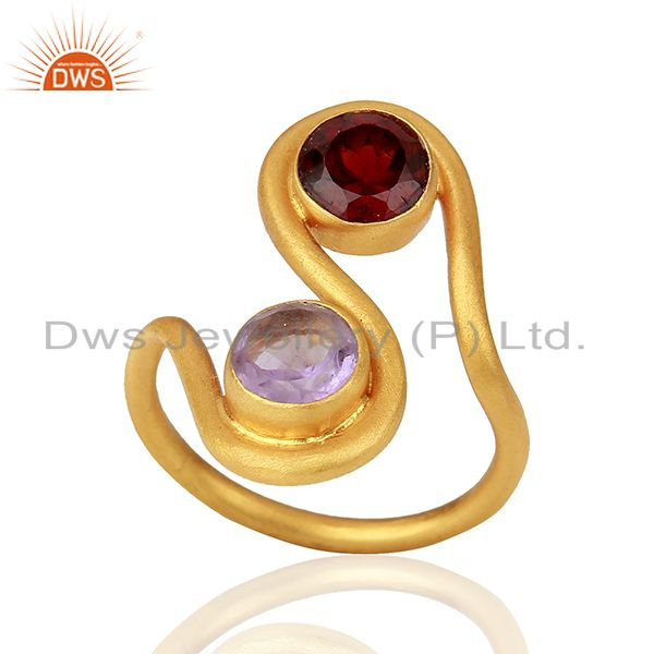 Amethyst and Garnet Gemstone Gold Plated Silver Fashion Ring Jewelry