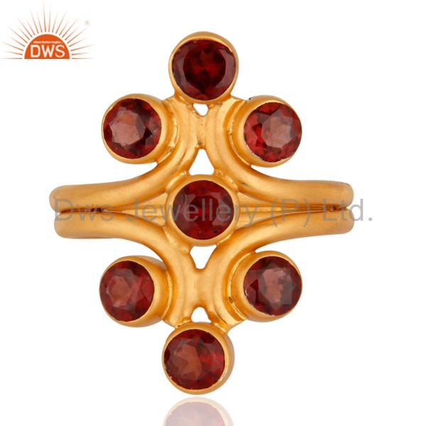 18K Yellow Gold Plated Sterling Silver Garnet Gemstone Knuckle Ring