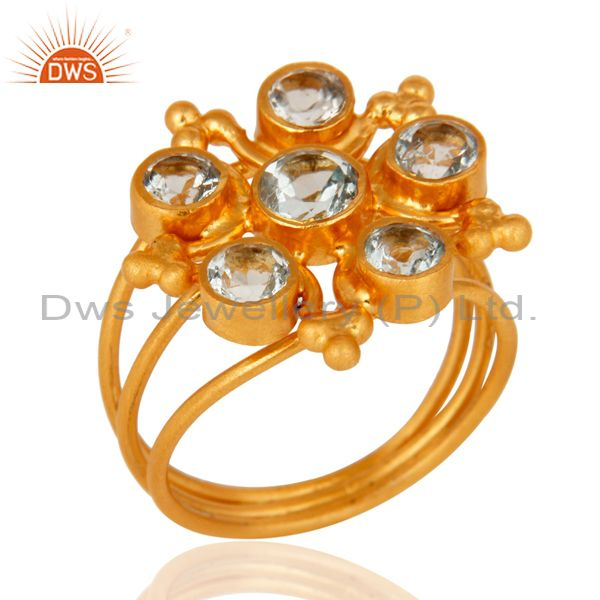 Handmade Natural Blue Topaz Gemstone 925 Sterling Silver Ring With Gold Plated