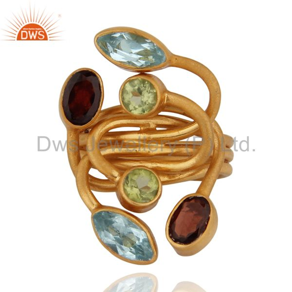 Unique Handmade 18K Gold Over Sterling Silver Multi Colored Gemstone Garnet Ring