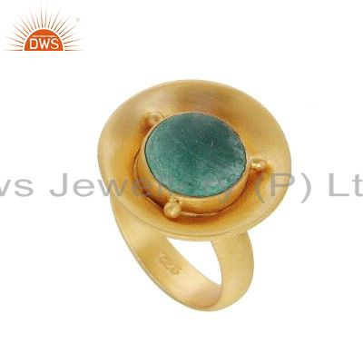 18K Gold Plated Sterling Silver Malachite Gemstone Cocktail Ring