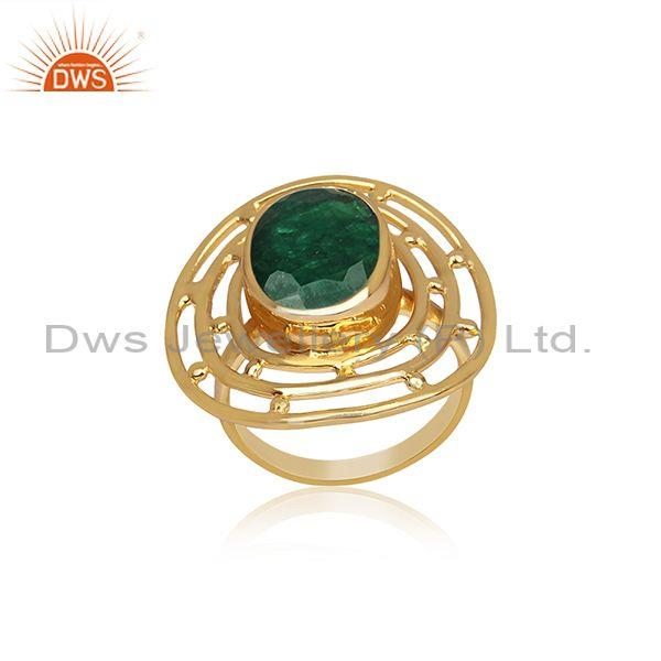 Oval emerald set handmade gold on sterling silver fancy ring