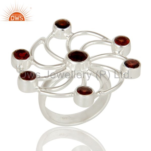 Solidl 925 Sterling Silver Flower Design Garnet Gemstone Ring