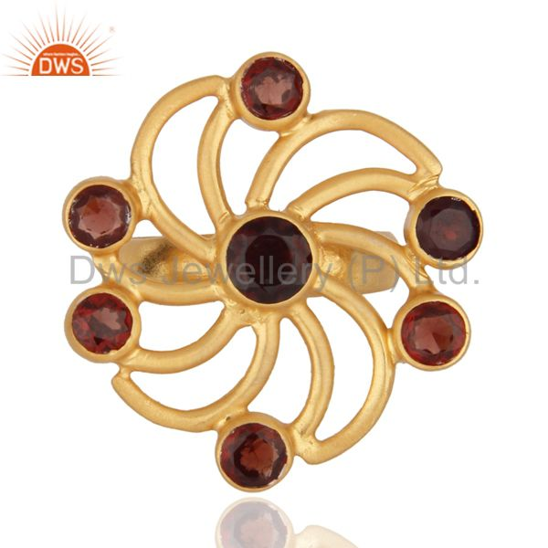 18K Yellow Gold Plated 925 Sterling Silver Flower Design Garnet Gemstone Ring