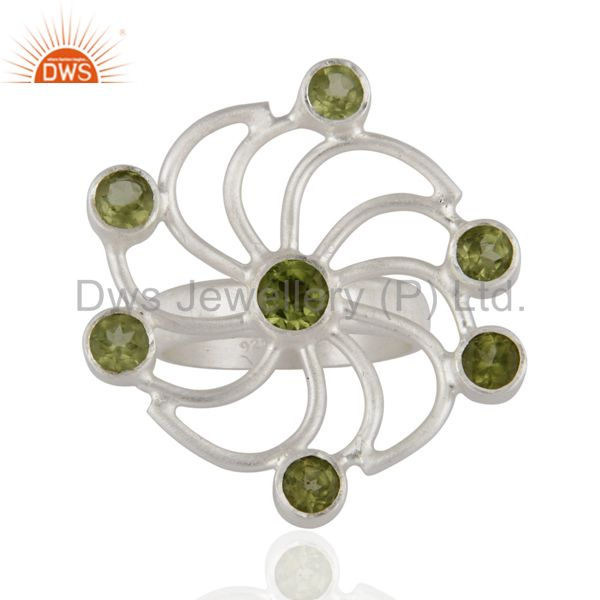 Handmade 925 Solid Sterling Silver Peridot Flower Designer Cocktail Ring