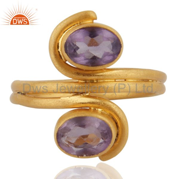 Natural Amethyst Gemstone 925 Sterling Silver Handmade 24Karat Gold Plated Ring