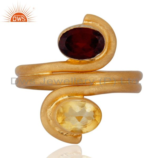 Indian Artisan 18K Gold Over 925 Sterling Silver Garnet & Citrine Gemstone Ring