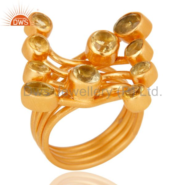 Round Cut Citrine Gemstone Ring Made In 18K Gold Over Sterling Silver