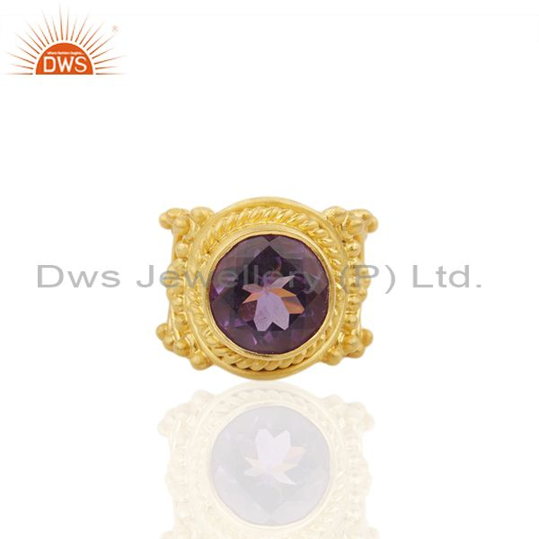 18K Yellow Gold Plated Sterling Silver Amethyst Gemstone Cocktail Ring