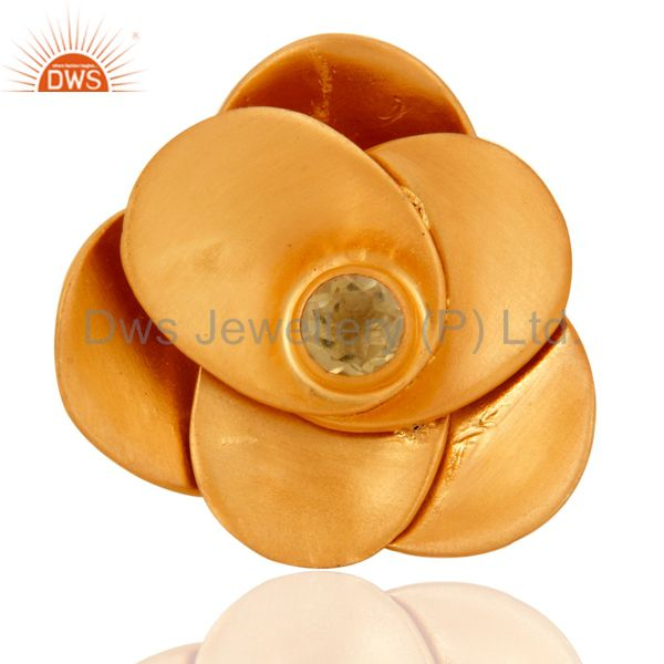 18K Yellow Gold Plated Sterling Silver Citrine Flower Design Cocktail Ring