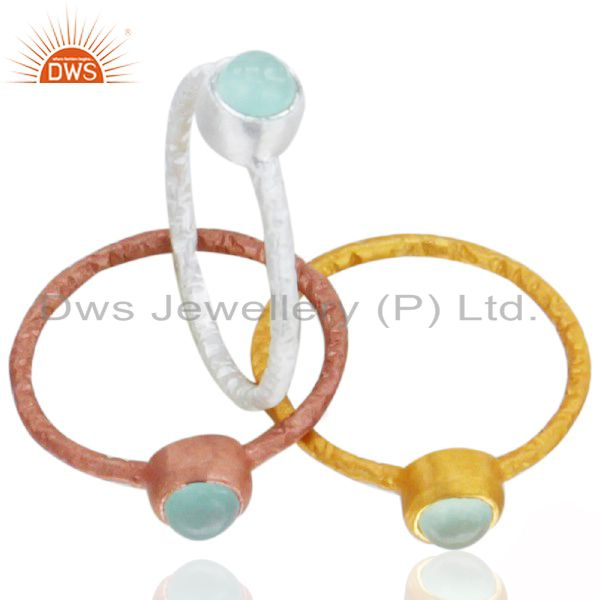 14K Gold Plated Sterling Silver Aqua Blue Chalcedony Bezel Set Stacking Ring