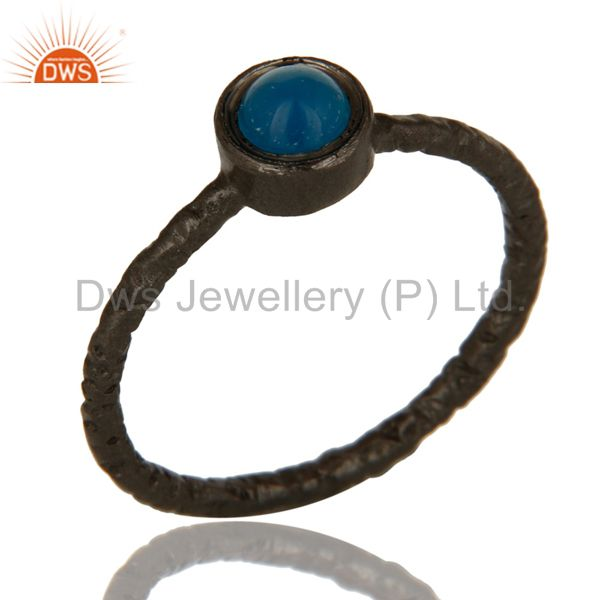 Black Rhodium Plated Sterling Silver Aqua Blue Chalcedony Gemstone Stacking Ring