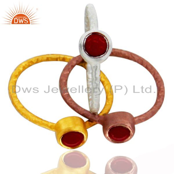 14K Gold Plated Sterling Silver Red Coral Bezel Set Stacking Ring 3 Pcs Set