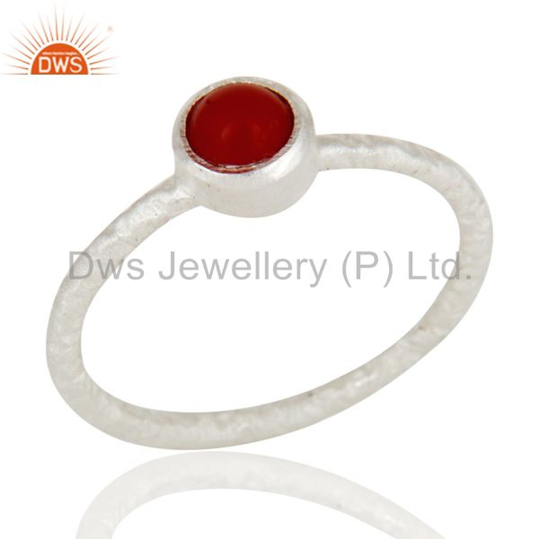 925 Solid Sterling Silver Red Coral Gemstone Stackable Ring
