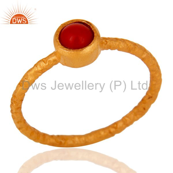 18K Yellow Gold Plated Sterling Silver Red Coral Gemstone Stackable Ring