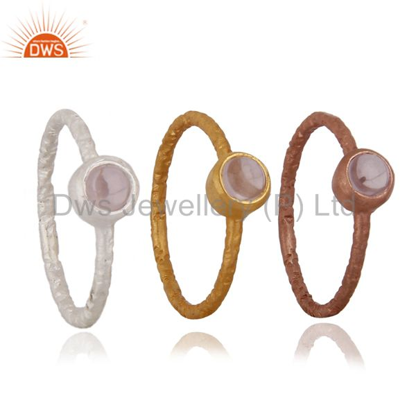 18K Gold Plated Sterling Silver Rose Quartz Gemstone Stack Ring 3 Pcs Set
