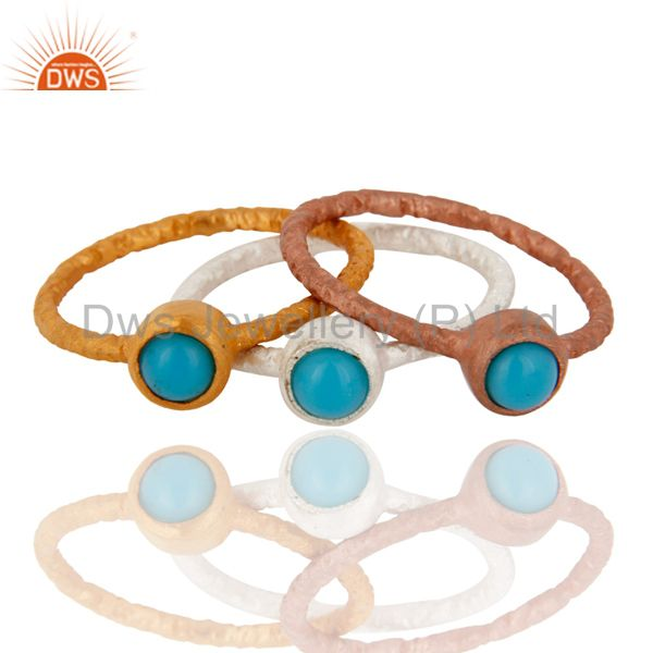 18K Gold Plated Sterling Silver Natural Turquoise Gemstone Ring 3 Pcs Set Size 6