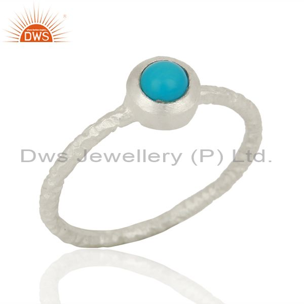 Natural Turquoise Gemstone 925 Sterling Silver Stackable Ring Jewelry