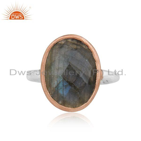 Handcrafted Dualtone Rose Gold on Silver Labradorite Ring