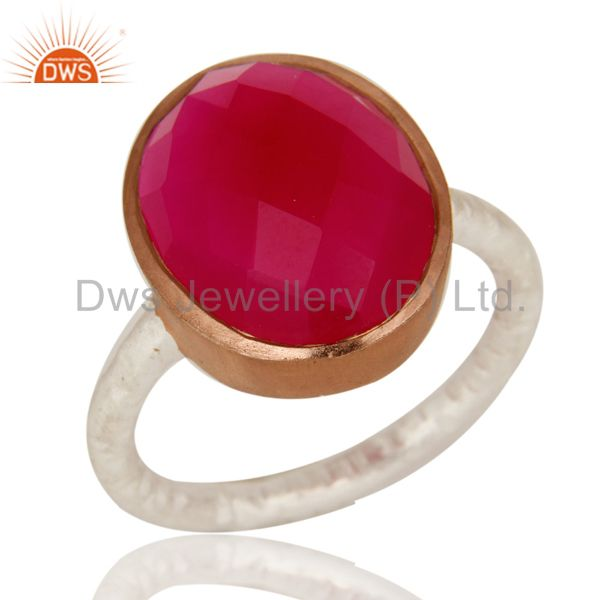 Dyed Pink Chalcedony Gemstone Sterling Silver And Rose Gold Plated Bezel Ring