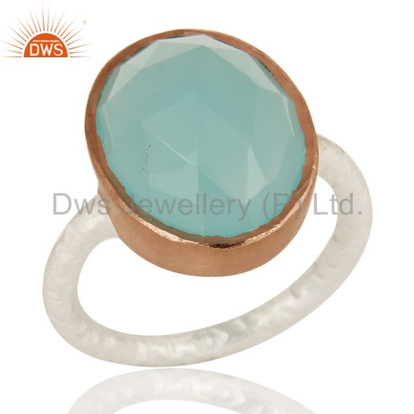 Dyed Aqua Blue Chalcedony Gemstone Sterling Silver Ring With Rose Gold Plated