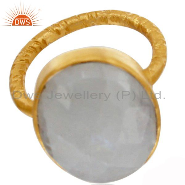 22K Yellow Gold Plated Sterling Silver Rainbow Moonstone Hammered Stacking Ring