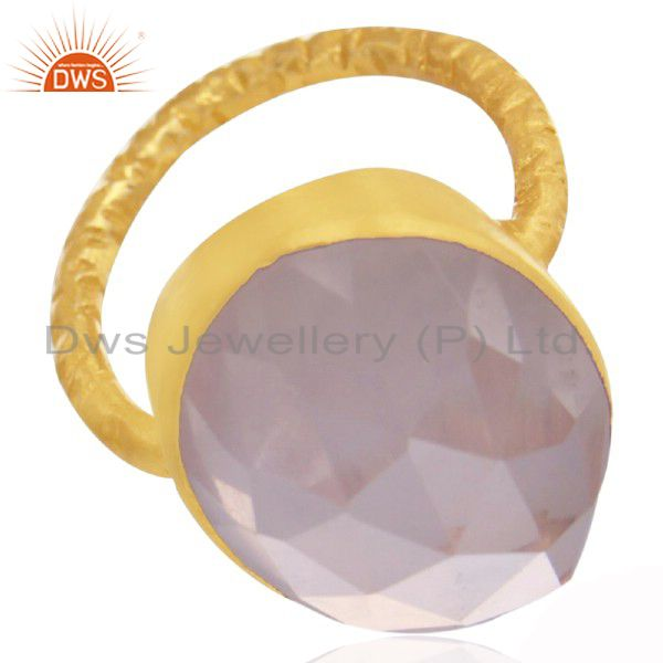 22K Yellow Gold Plated Sterling Silver Rose Quartz Hammered Stack Statement Ring