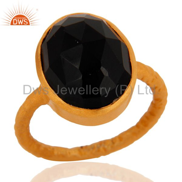 925 Sterling Silver Black Onyx Gemstone Ring With 18K Gold Plated Jewelry
