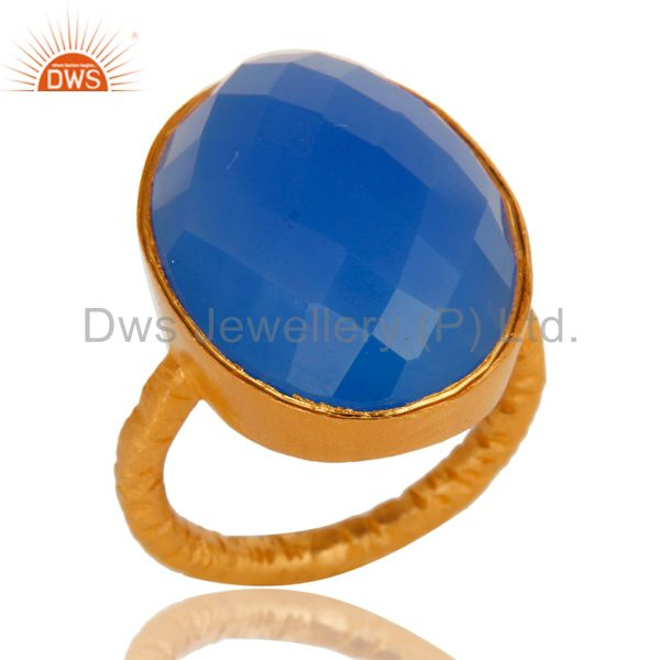 Faceted Aqua Blue Chalcedony Gemstone 18K Gold Plated Sterling Silver Ring