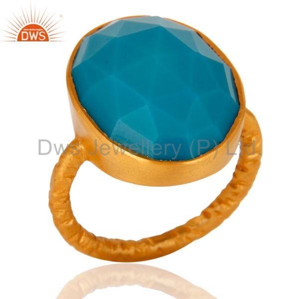 Handmade Sterling Silver With Gold Plated Synthetic Turquoise Gemstone Ring
