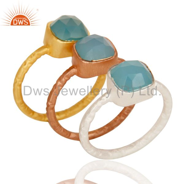 18K Gold Plated Sterling Silver Aqua Chalcedony Gemstone Stacking Ring 3 Pcs Set