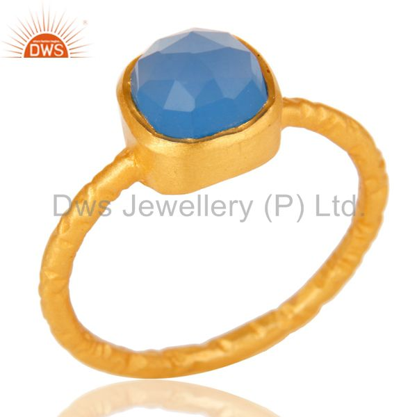 18K Yellow Gold Over Sterling Silver Dyed Blue Chalcedony Stacking Ring