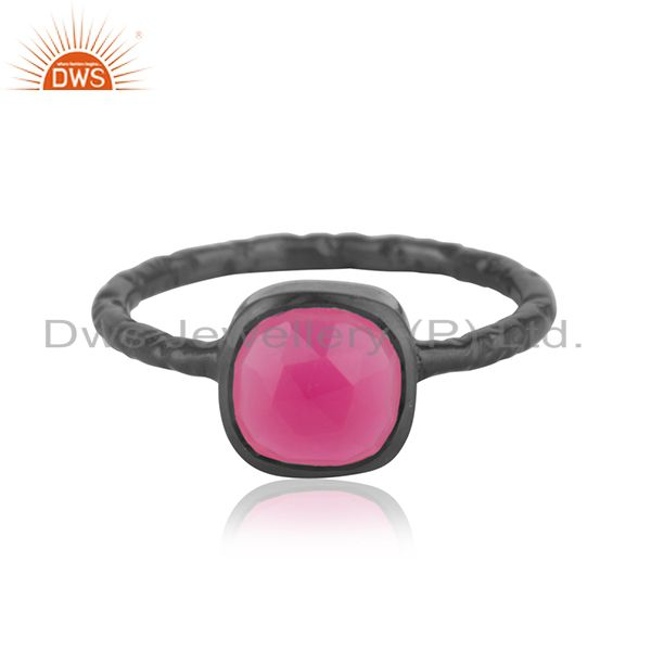 Dyed Pink Chalcedony Gemstone Black Rhodium Plated Sterling Silver Ring