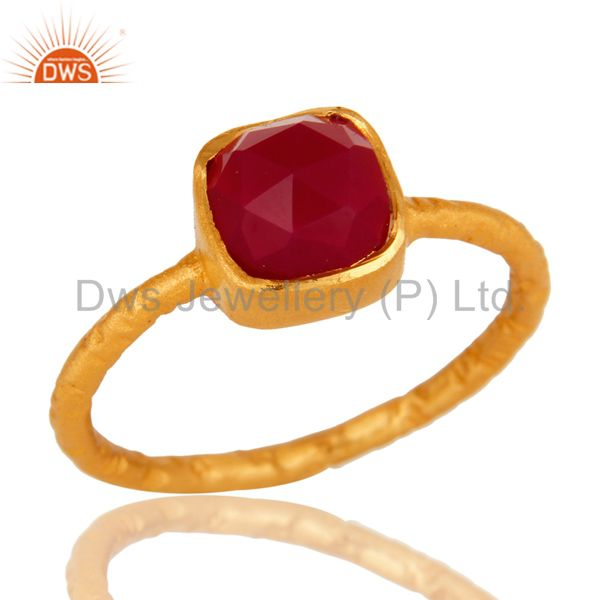 Dyed Pink Chalcedony Gemstone 18K Gold Plated Sterling Silver Ring