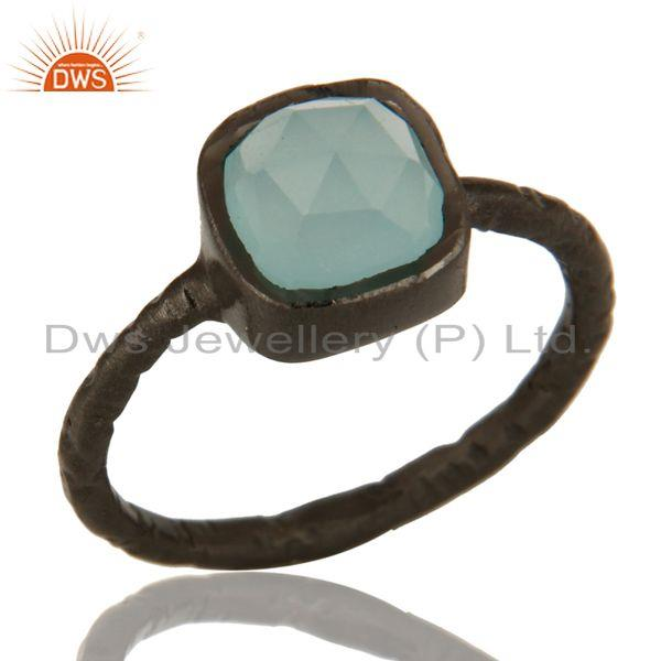 Dyed Aqua Blue Chalcedony Gemstone Black Rhodium Plated Sterling Silver Ring