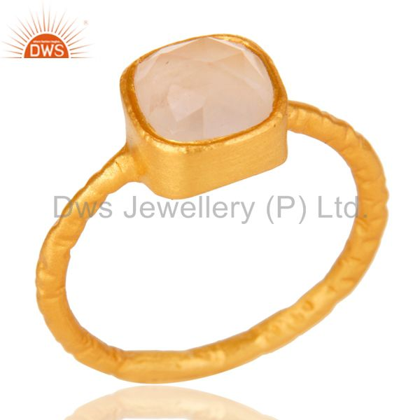 Rose Quartz 18K Yellow Gold-Plated 925 Sterling Silver Stackable Ring