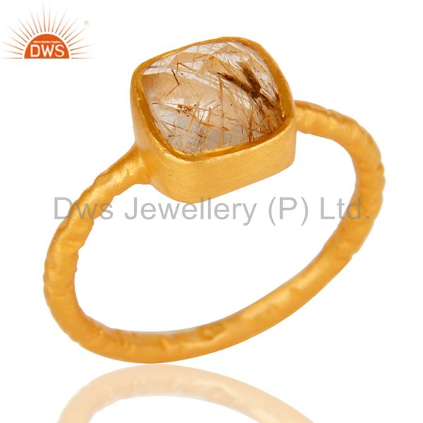 18K Yellow Gold Plated Sterling Silver Rutilated Quartz Gemstone Stackable Ring