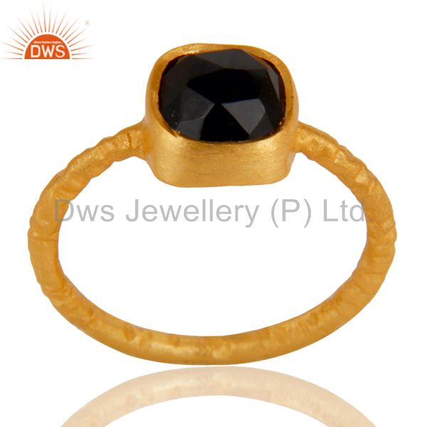 18K Rose Gold Plated Sterling Silver Black Onyx Stone Hammered Stacking Ring
