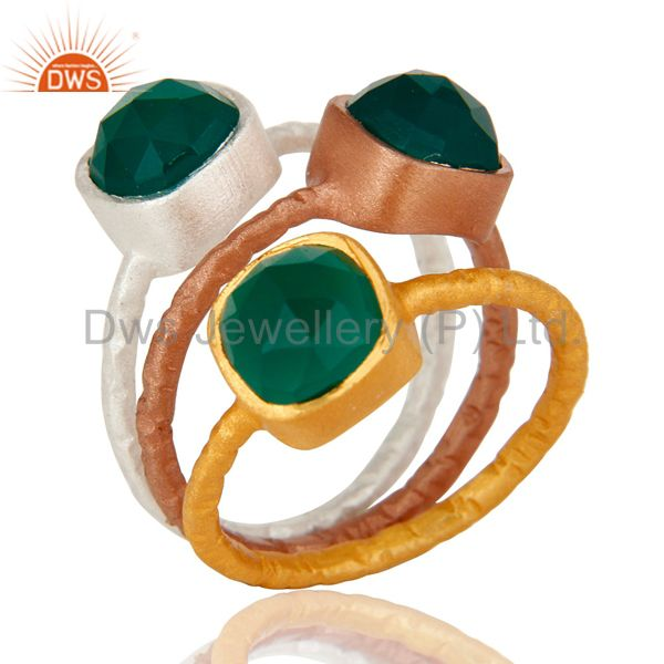 Rose and Yellow Gold Plated Sterling Silver Green Onyx Hammered Stacking Ring