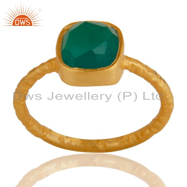 18K Yellow Gold plated Sterling Silver Green Onyx Hammered Stacking Ring