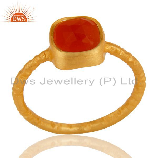 18K Yellow Gold Plated Sterling Silver Handmade Natural Red Onyx Stackable Ring