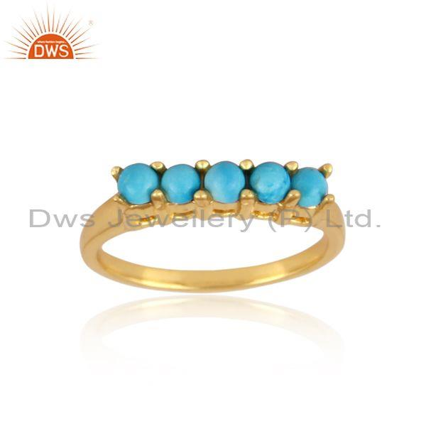 Turquoise set gold on sterling silver classic statement ring