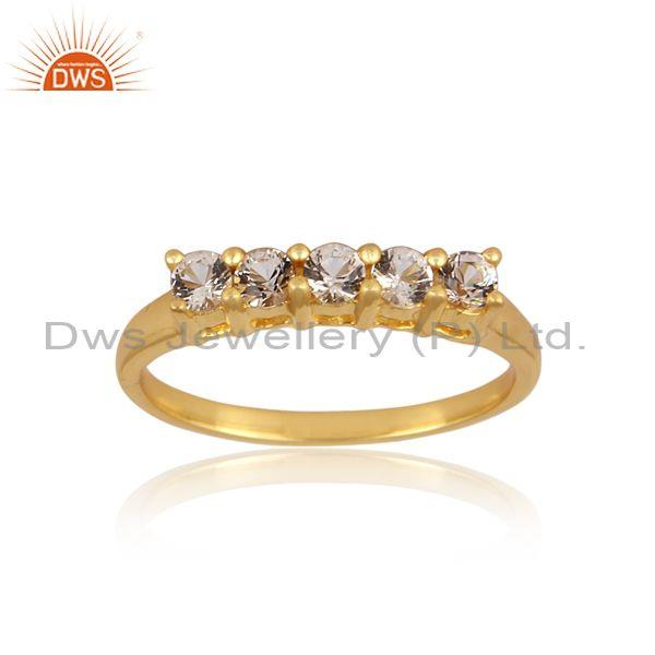 White topaz set gold on 925 silver classic statement ring