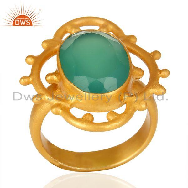Green Onyx Faceted Stone Filigreen Artisan 14 K Gold Plated Ring