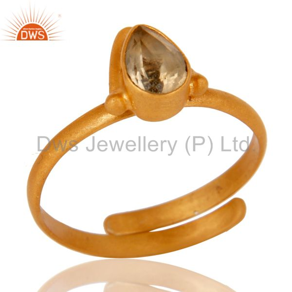 Solid Sterling silver 18k Yellow Gold Overlay Pear Citrine Adjustable Ring