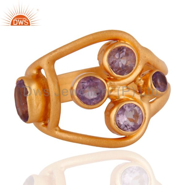 1.29cts. Amethyst Gemstone 14k Gold Plated 925 Sterling Silver Ring Jewelry