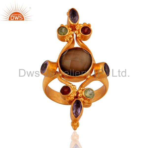 Handmade 24K Gold Plated 925 Sterling Silver Multi Color Gemstone Ring Jewelry